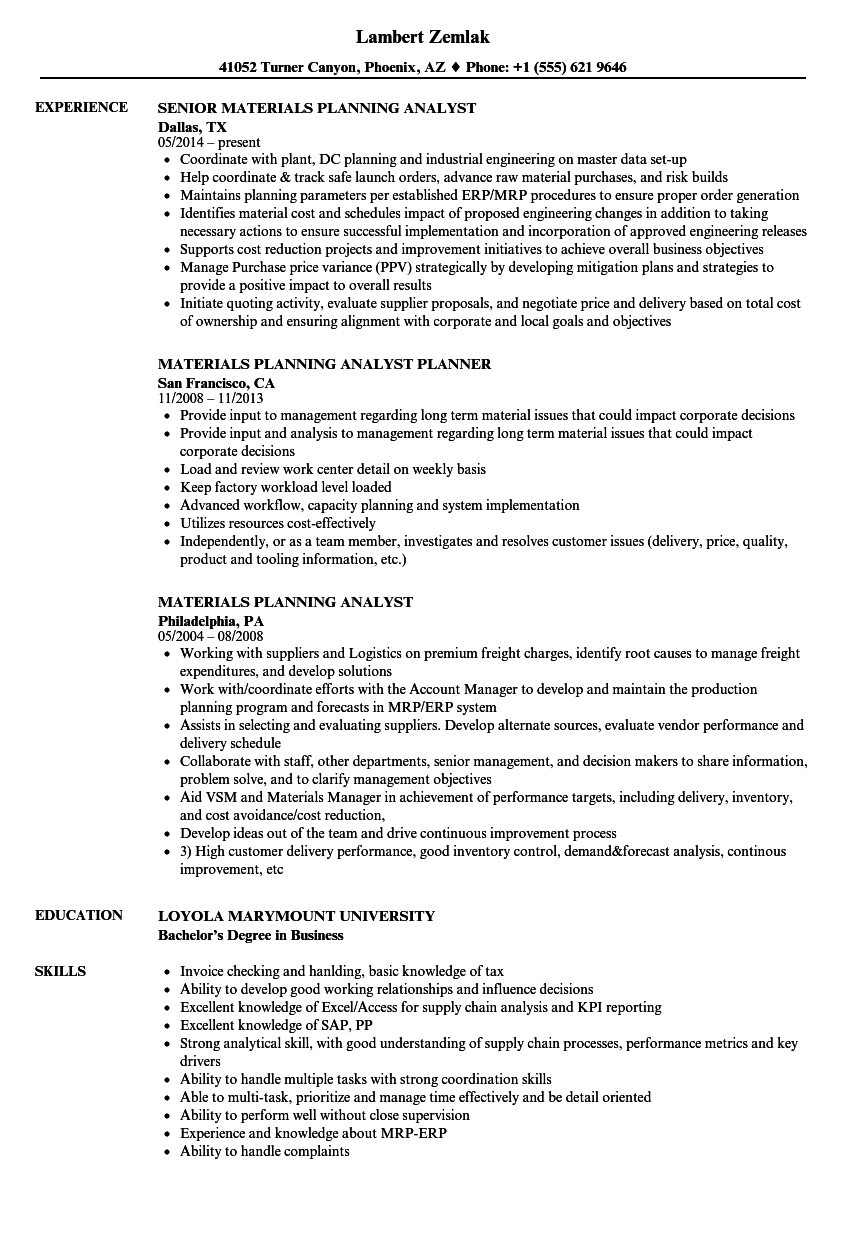 materials planning analyst resume samples