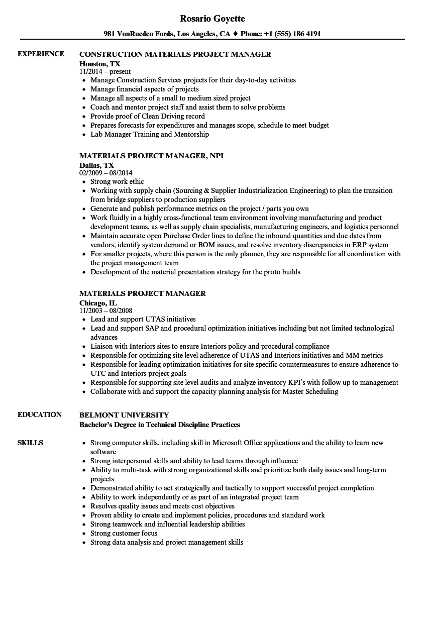 materials project manager resume samples