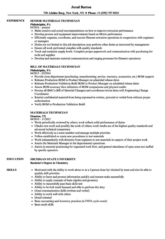 Materials Technician Resume Samples