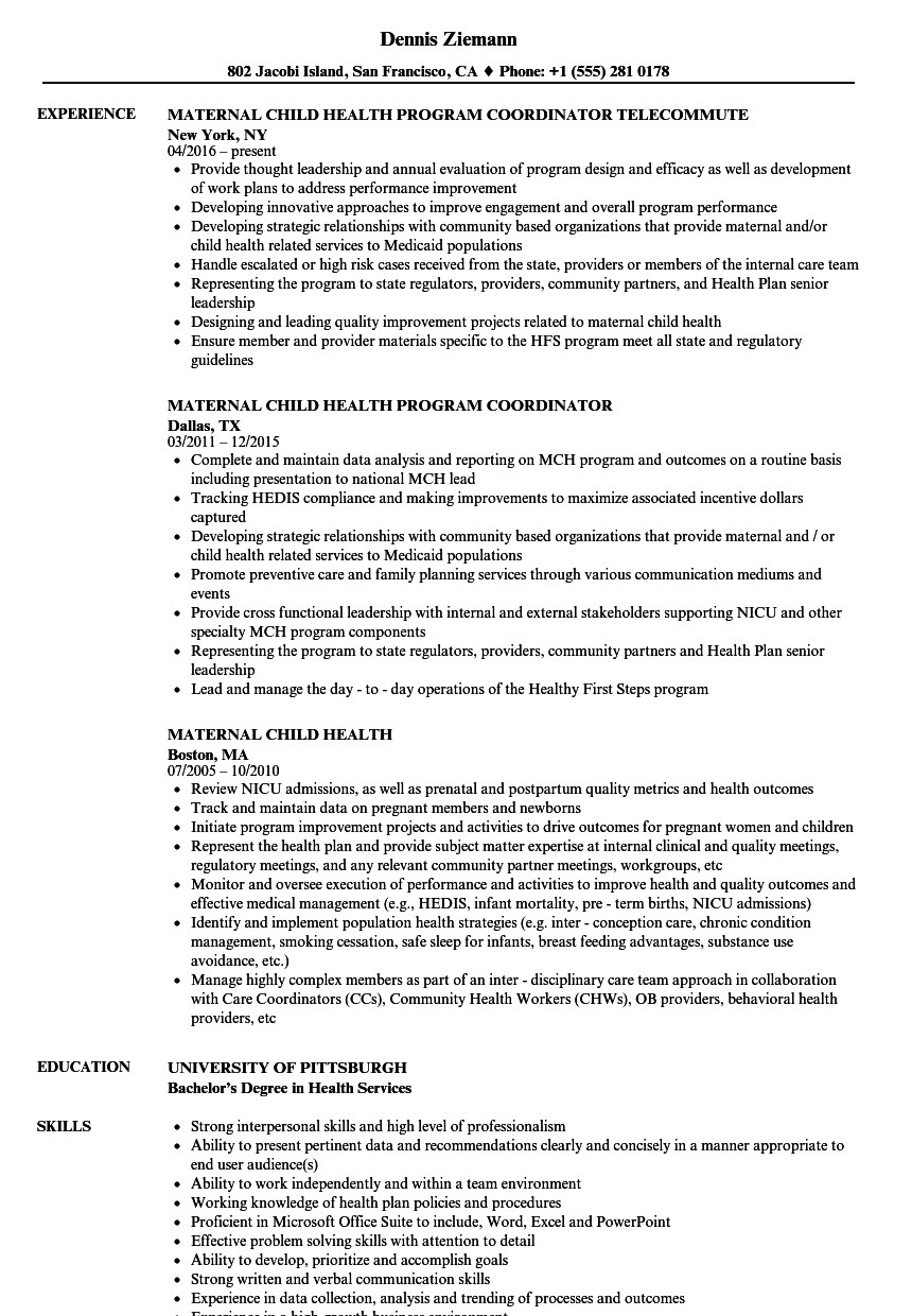 maternal child health resume samples