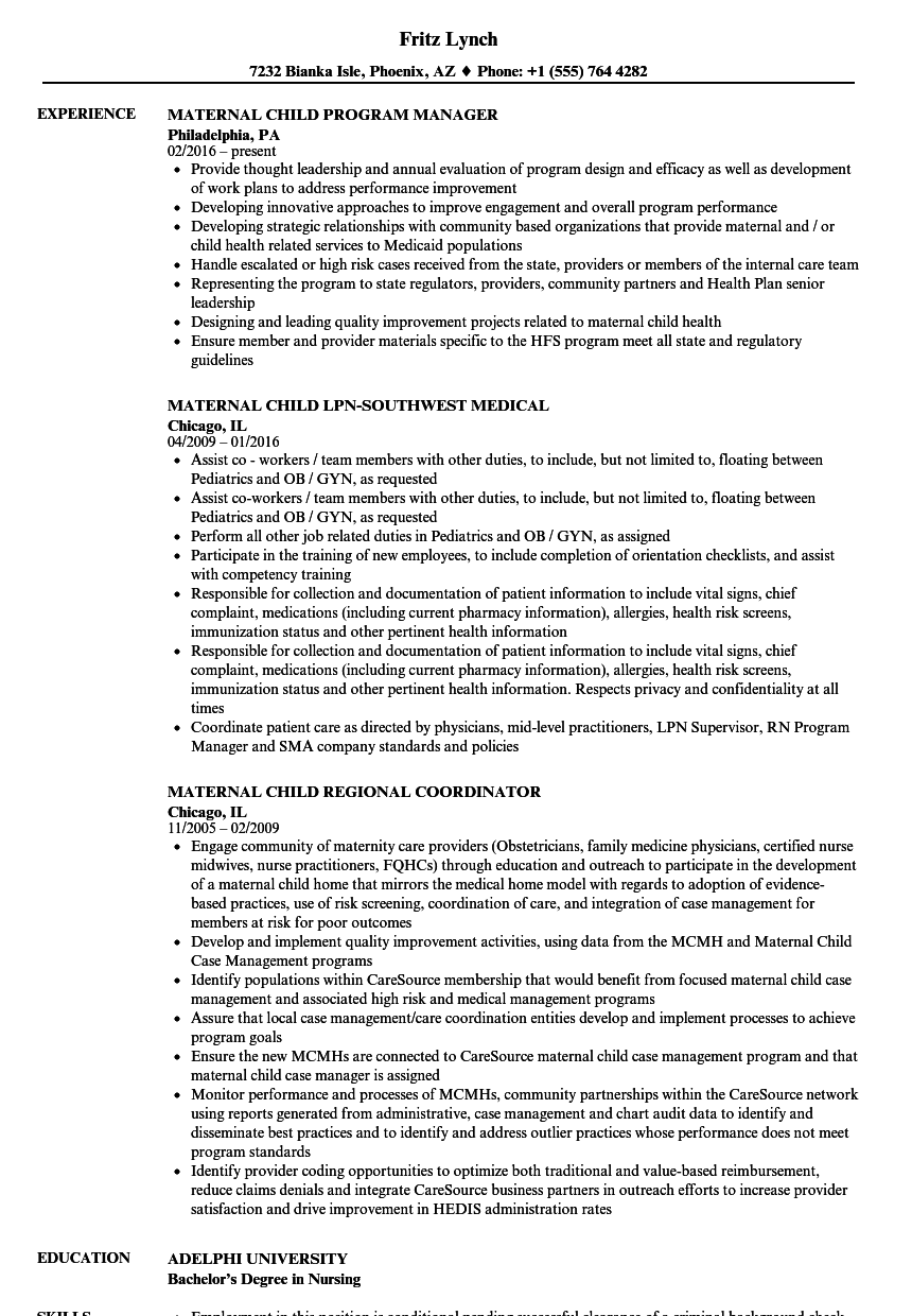 maternal child resume samples