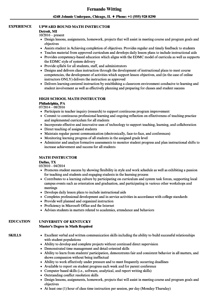 Math Instructor Resume Samples | Velvet Jobs
