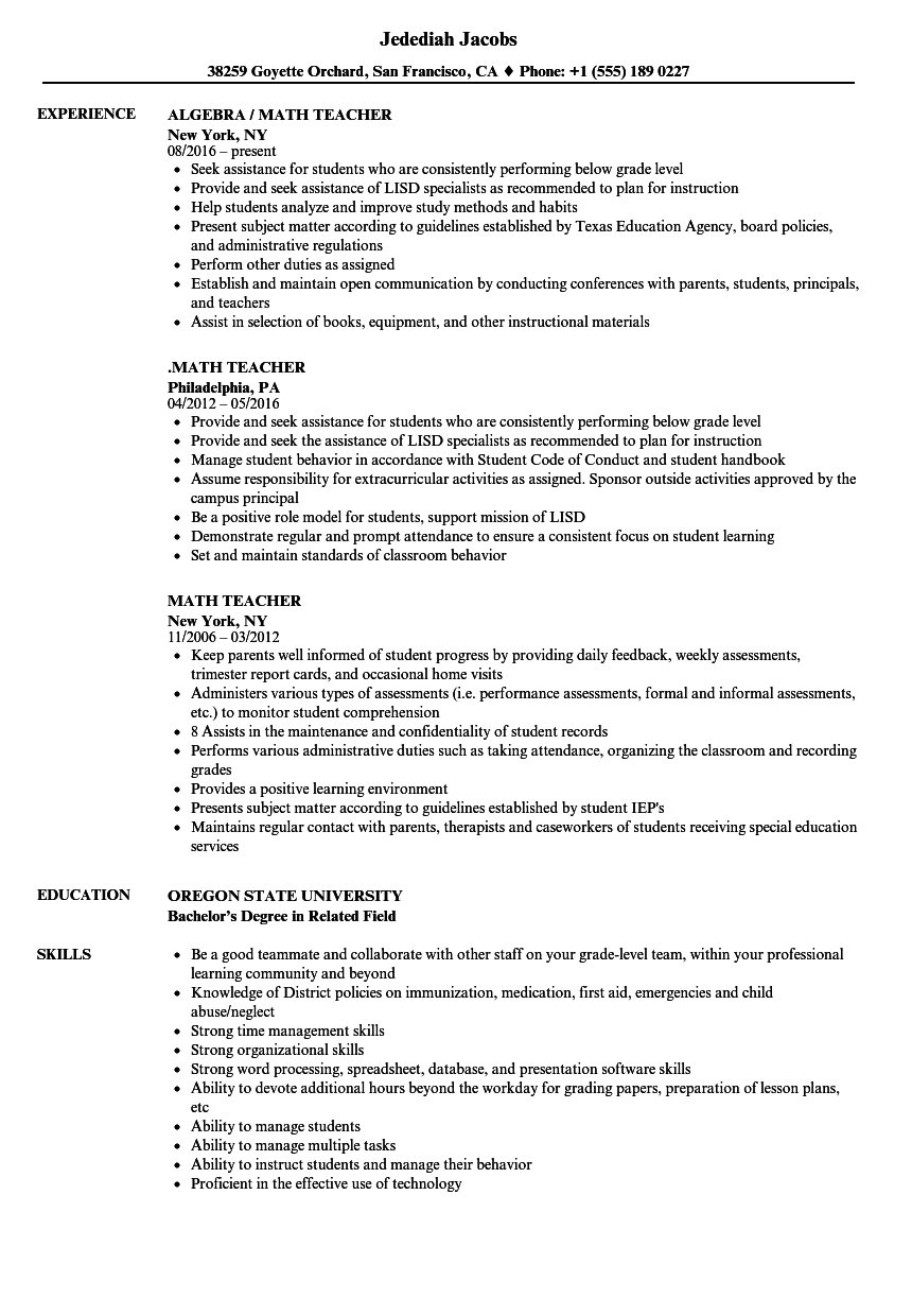 Math Teacher Resume Samples Velvet Jobs