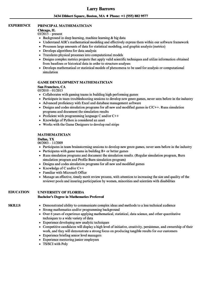 mathematician resume samples