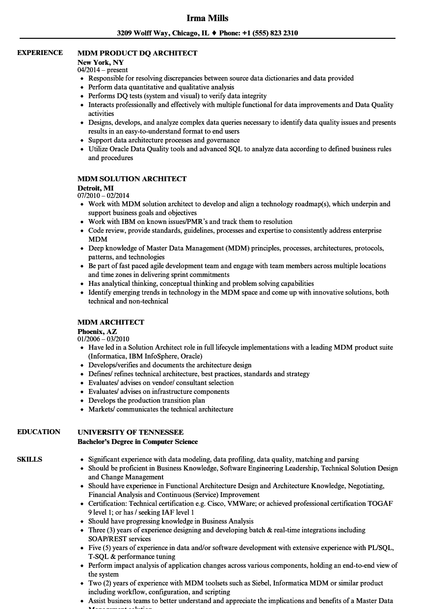 MDM Architect Resume Samples | Velvet Jobs