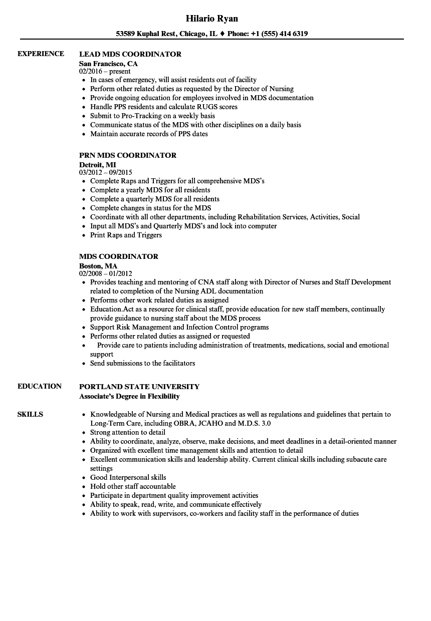 mds coordinator resume samples