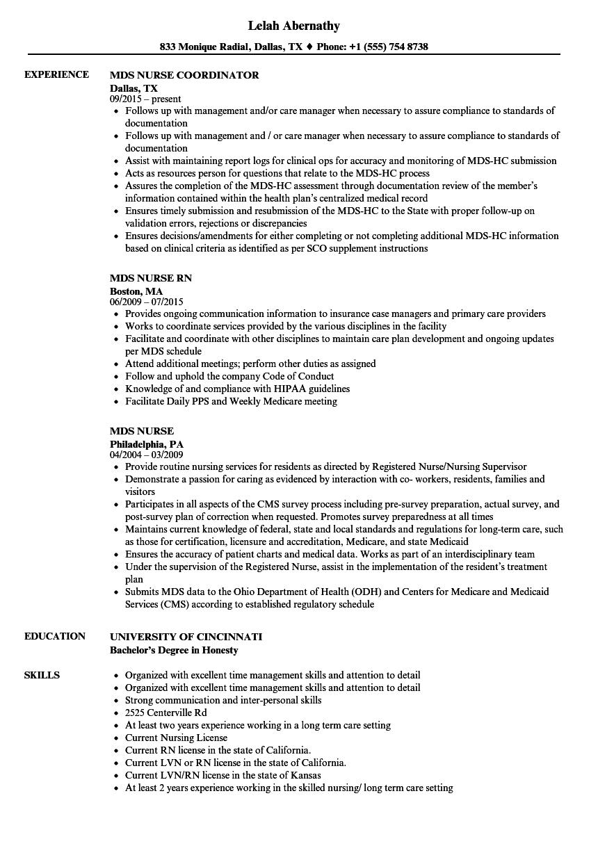 MDS Nurse Resume Samples | Velvet Jobs