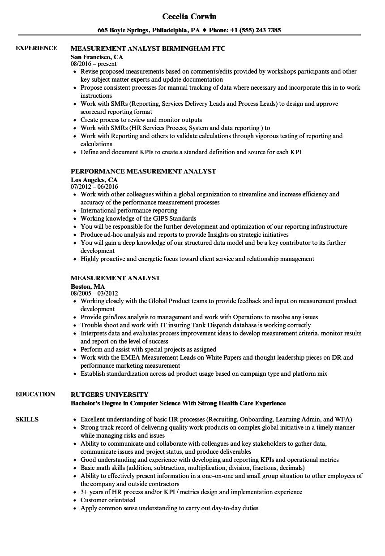 Measurement Analyst Resume Samples Velvet Jobs