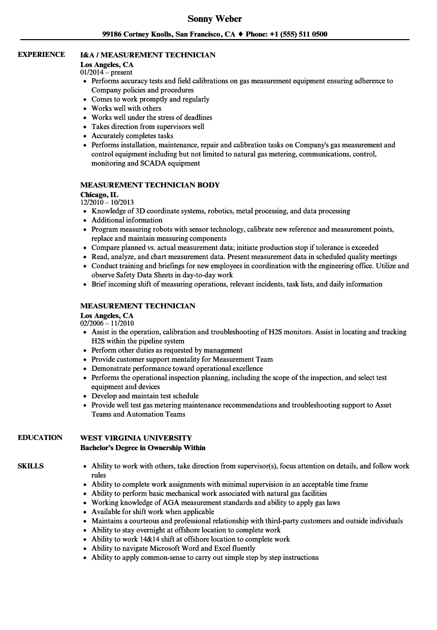 Measurement Technician Resume Samples | Velvet Jobs