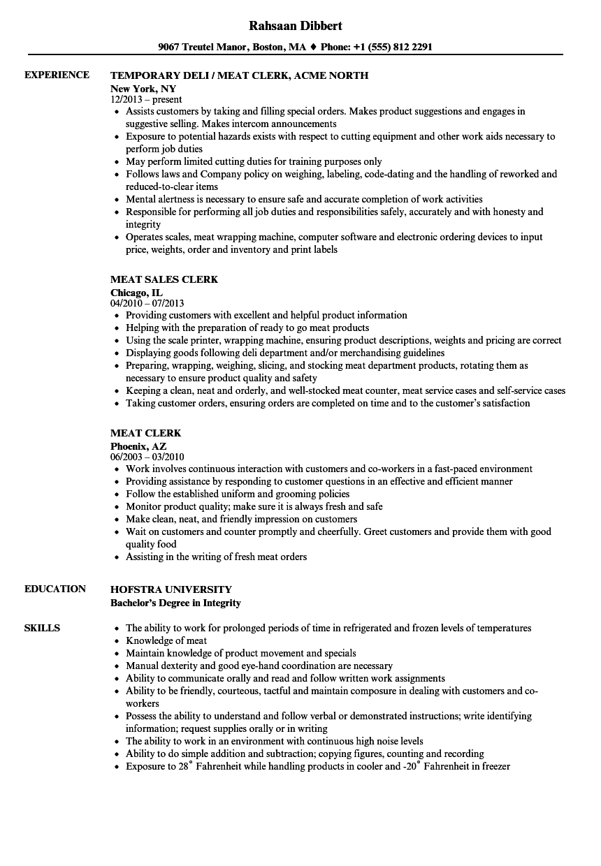 meat clerk resume samples