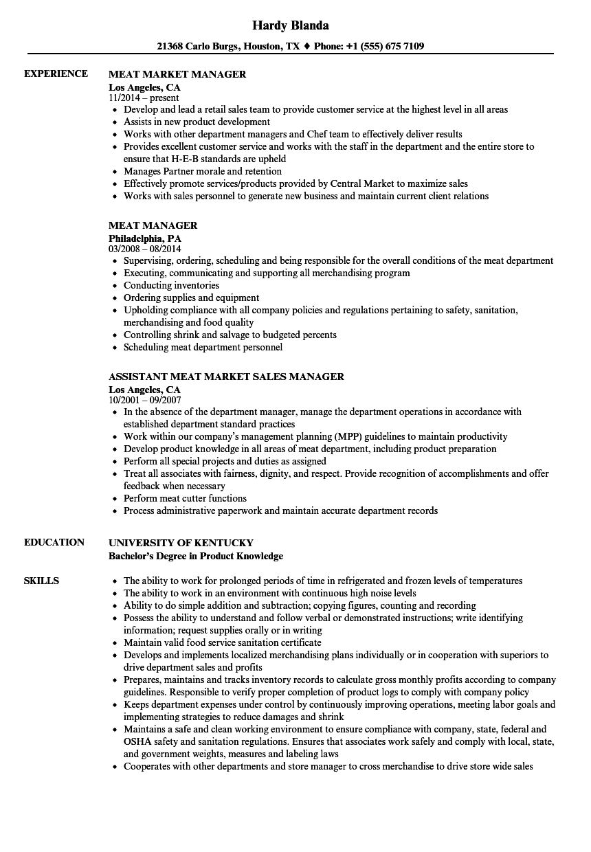 meat manager resume samples velvet jobs