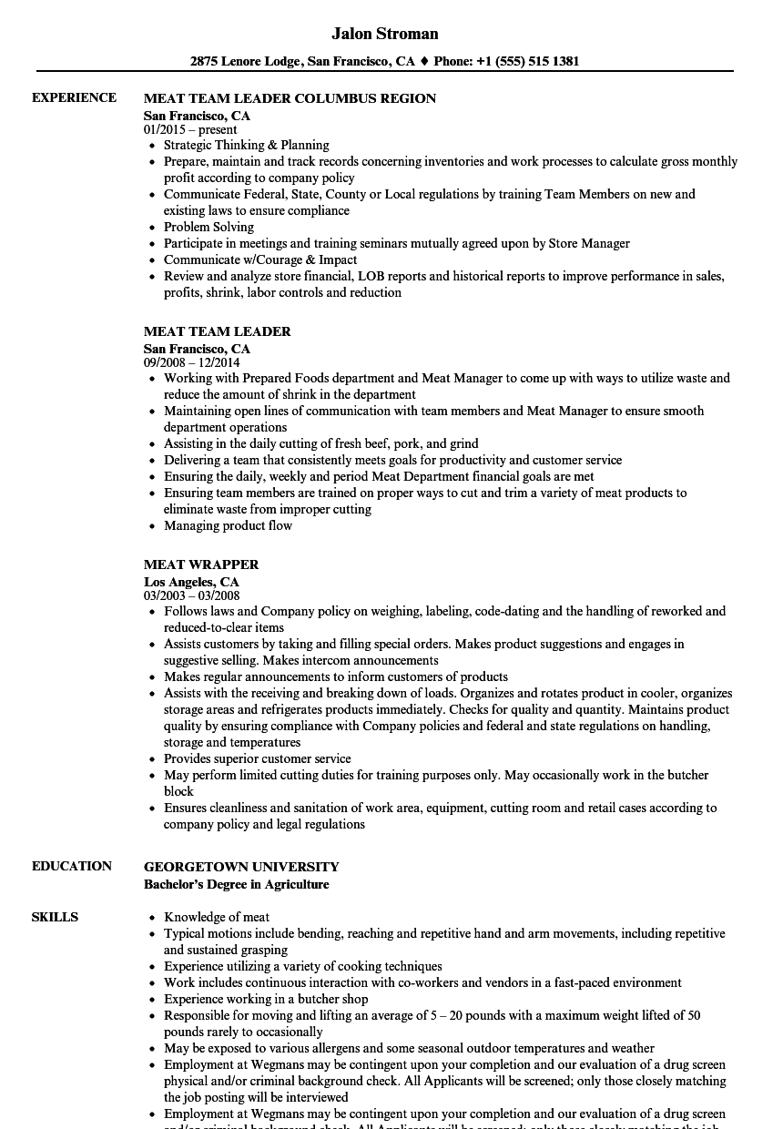 meat resume samples