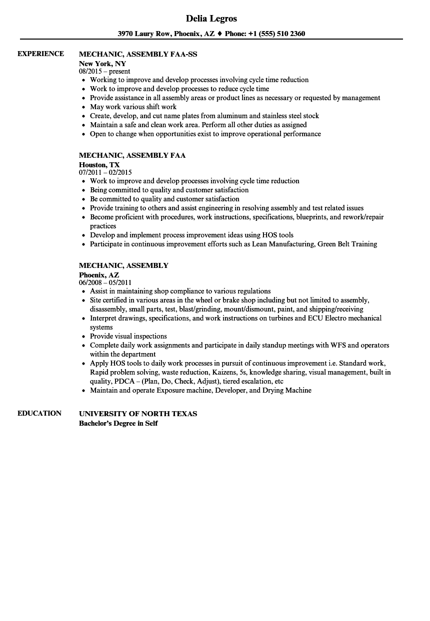 Mechanic Assembly Resume Samples Velvet Jobs