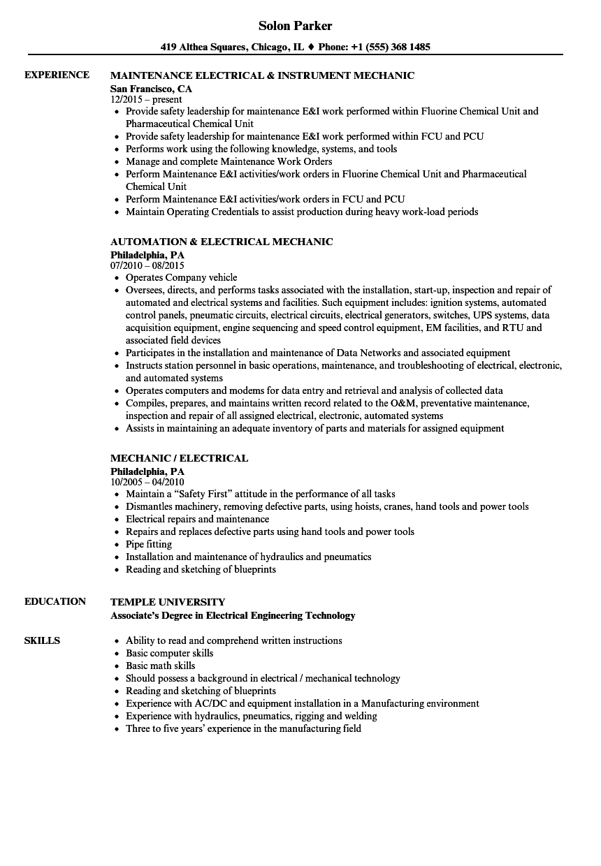 mechanic    electrical resume samples