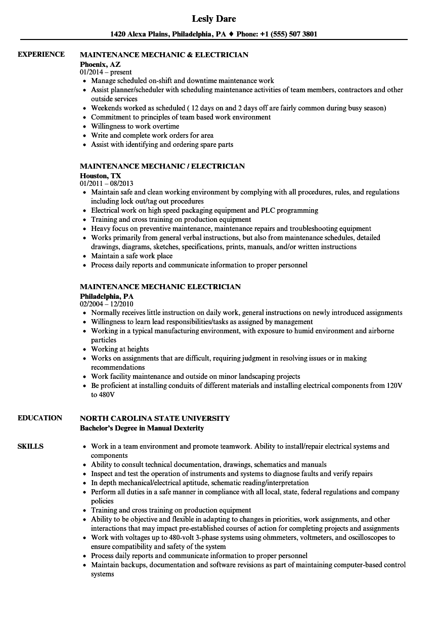 Mechanic Electrician Resume Samples | Velvet Jobs