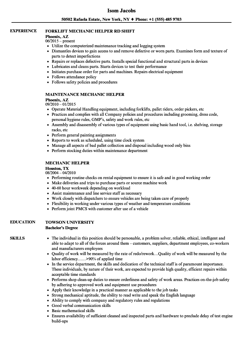 Mechanic Helper Resume Samples | Velvet Jobs