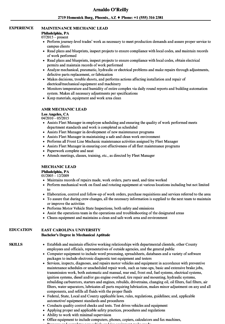 mechanic lead resume samples