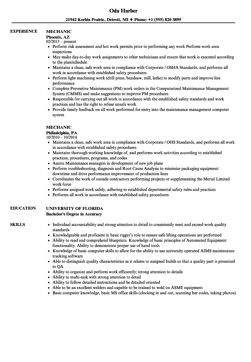 Mechanic Resume Samples Velvet Jobs