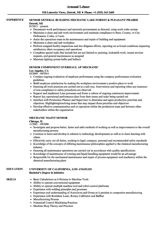 Download Mechanic Senior Resume Sample As Image File  Resume For Mechanic