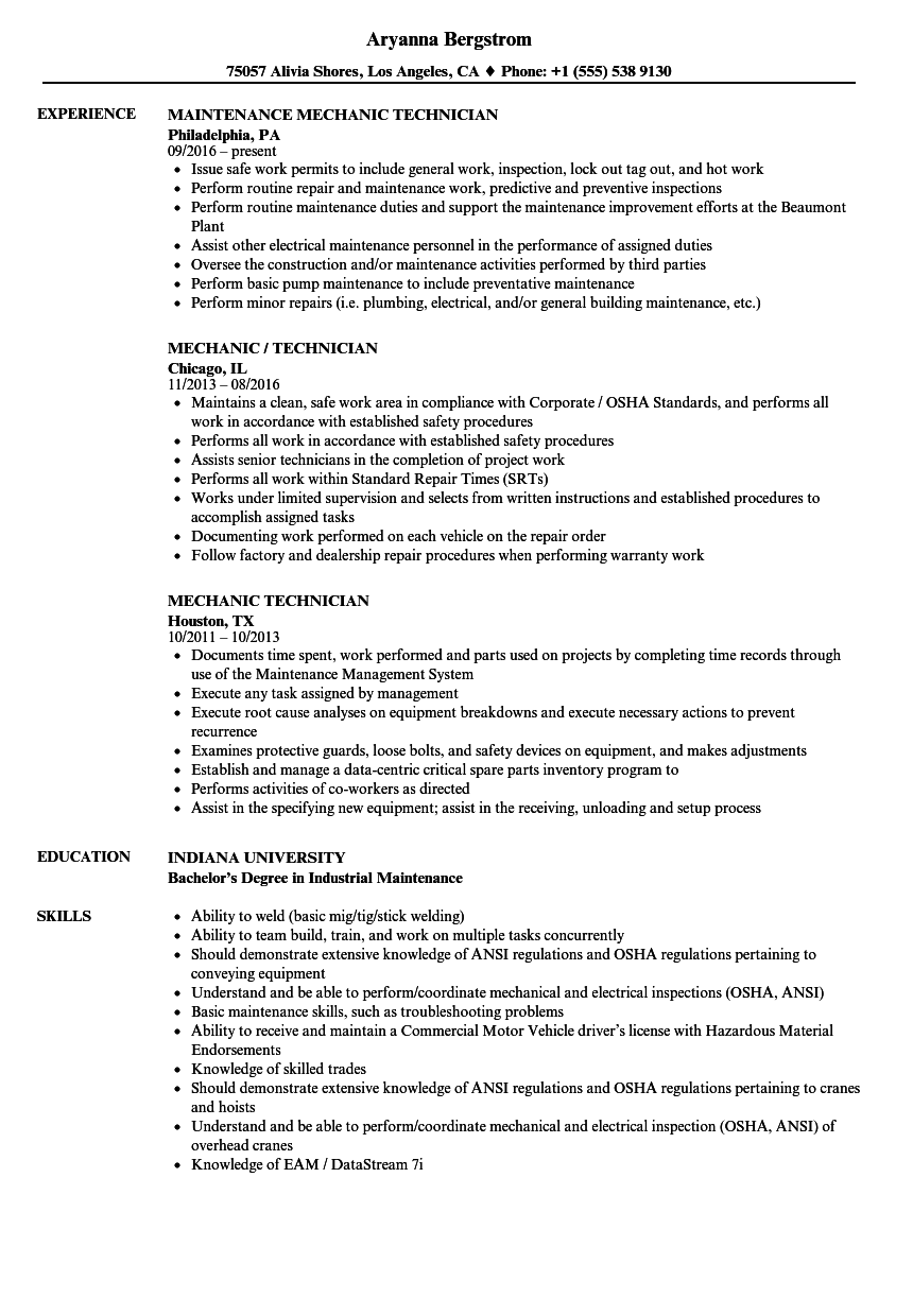Download Mechanic Technician Resume Sample As Image File