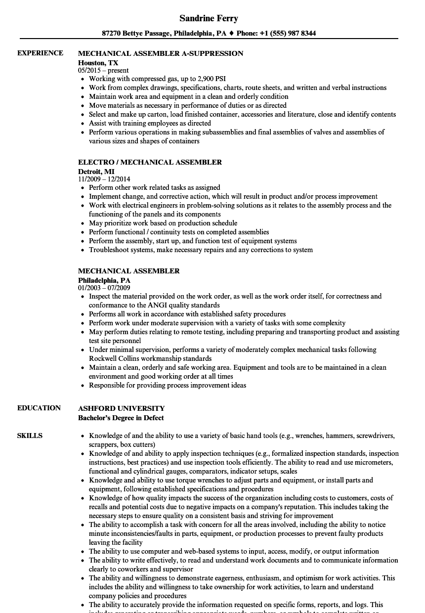 Download Mechanical Assembler Resume Sample As Image File