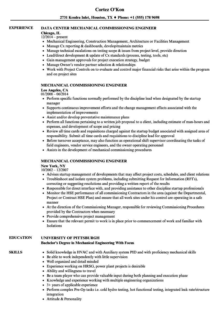 mechanical commissioning engineer resume samples