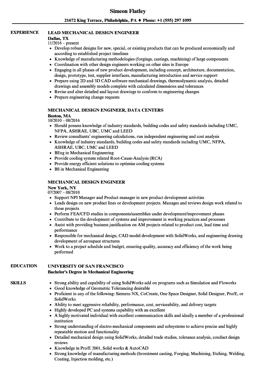 Mechanical Design Engineer Resume Samples Velvet Jobs