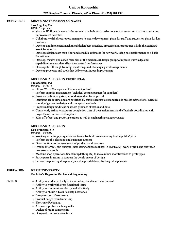 Mechanical Design Resume Samples Velvet Jobs