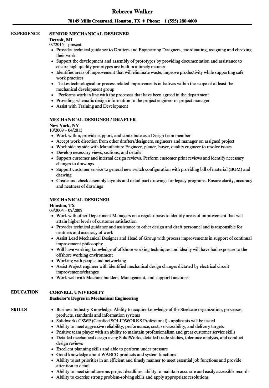 Mechanical Designer Resume Samples | Velvet Jobs