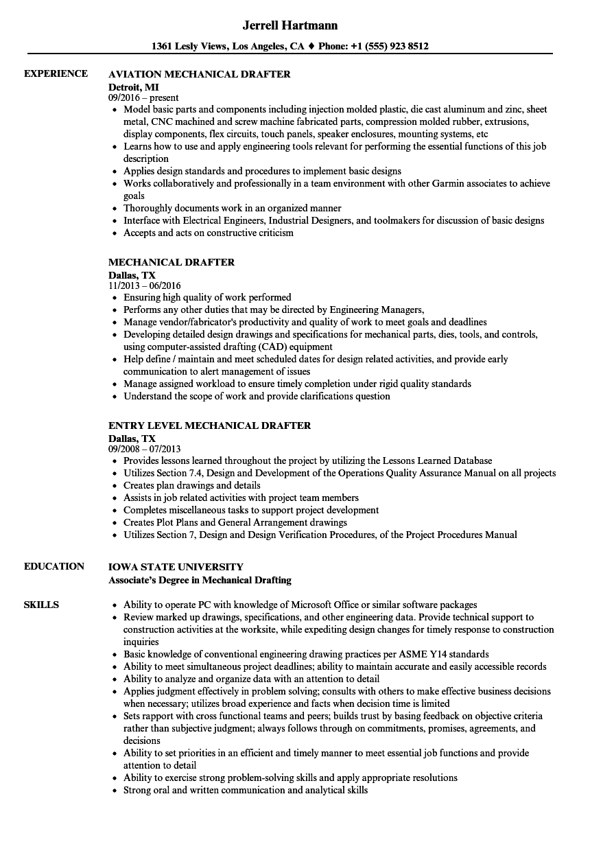 Mechanical Drafter Resume Samples Velvet Jobs