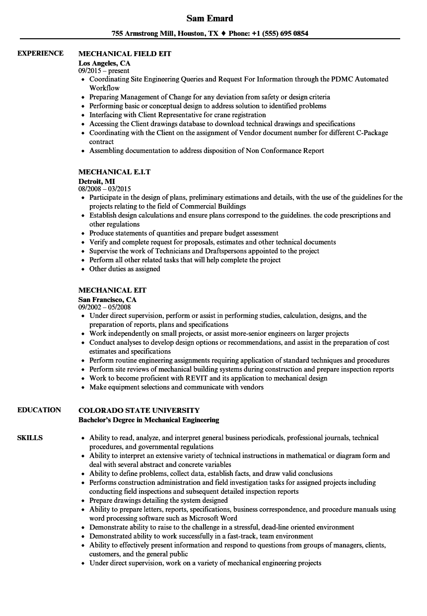 Wonderful Download Mechanical E.i.t Resume Sample As Image File To Eit On Resume