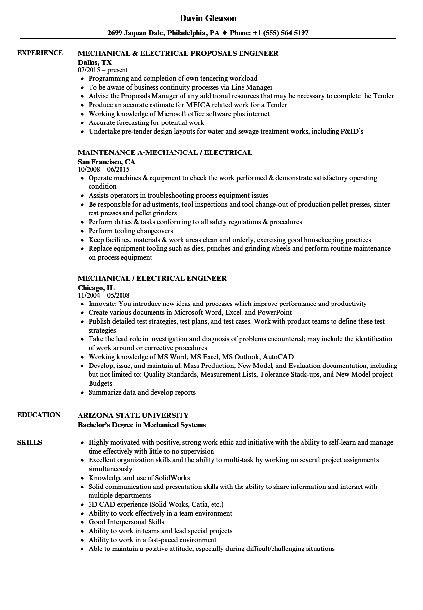 Mechanical  Electrical Resume Samples  Velvet Jobs