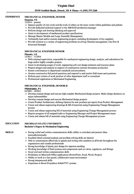 Mechanical Engineer Senior Resume Samples Velvet Jobs