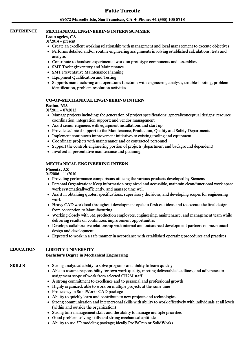 mechanical engineering intern resume samples velvet jobs