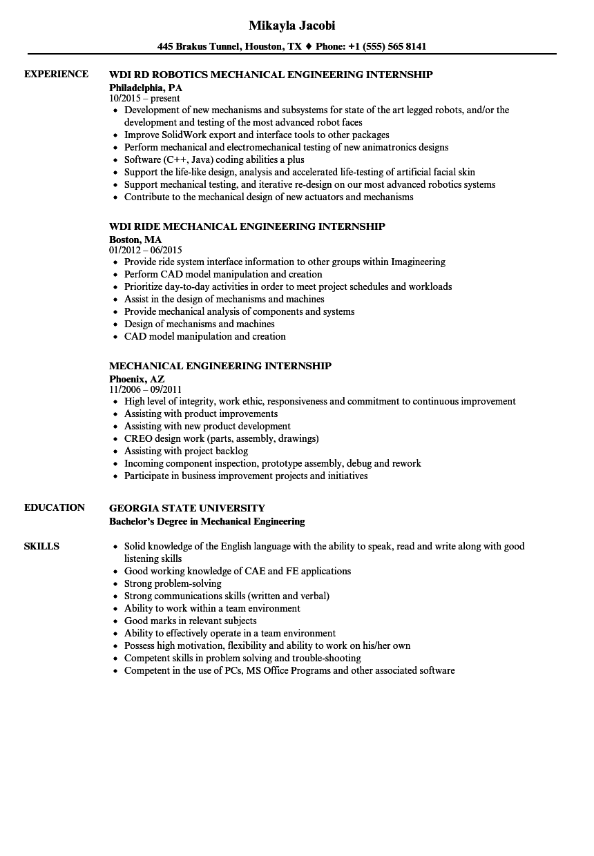 mechanical engineering internship resume samples velvet jobs
