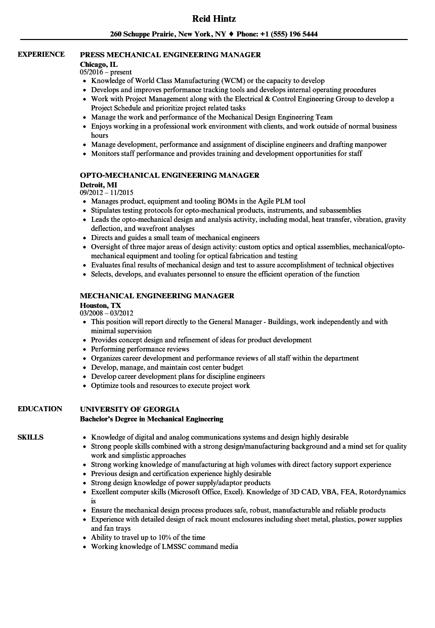 Mechanical Engineering Manager Resume Samples Velvet Jobs