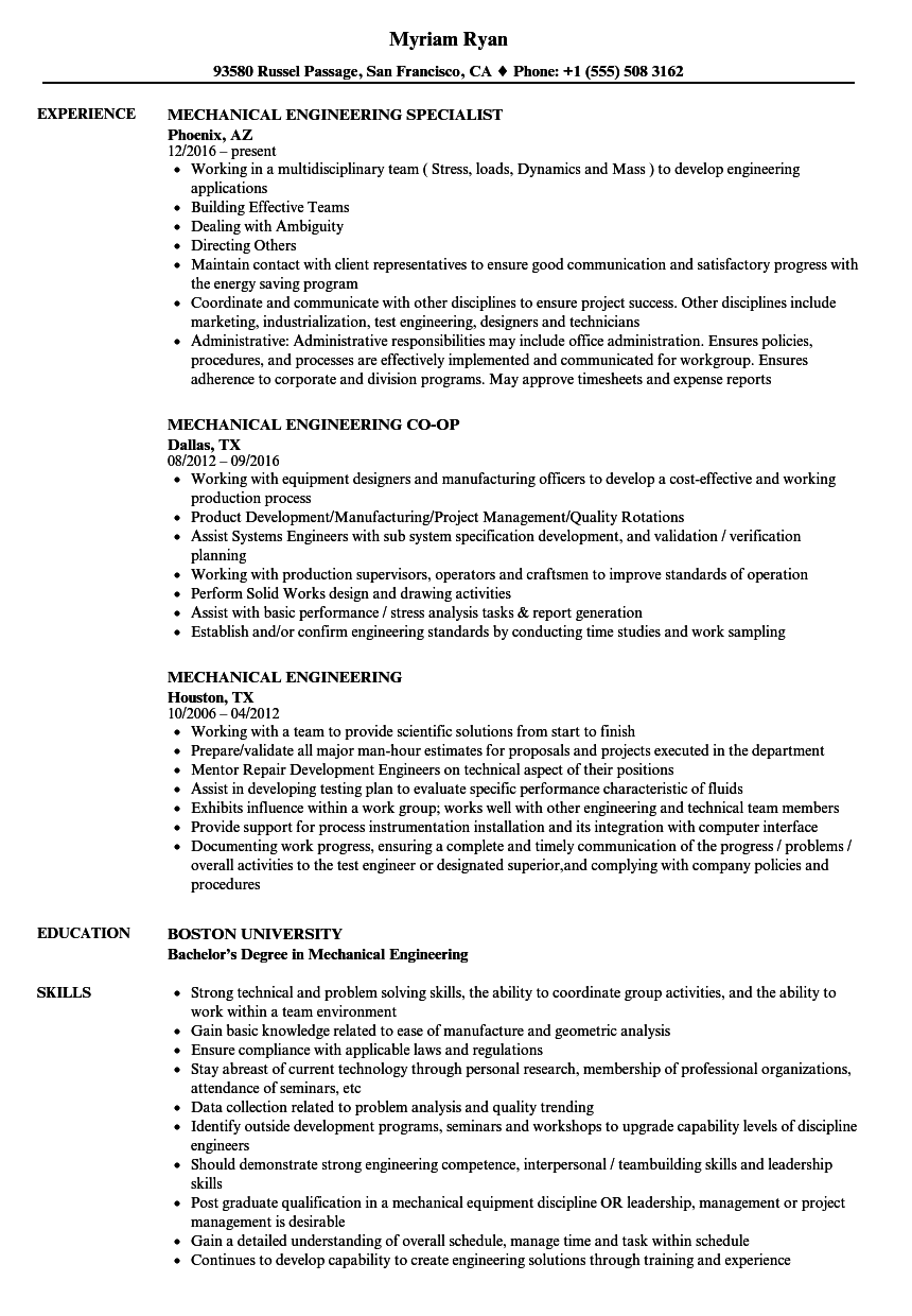 mechanical engineering resume samples