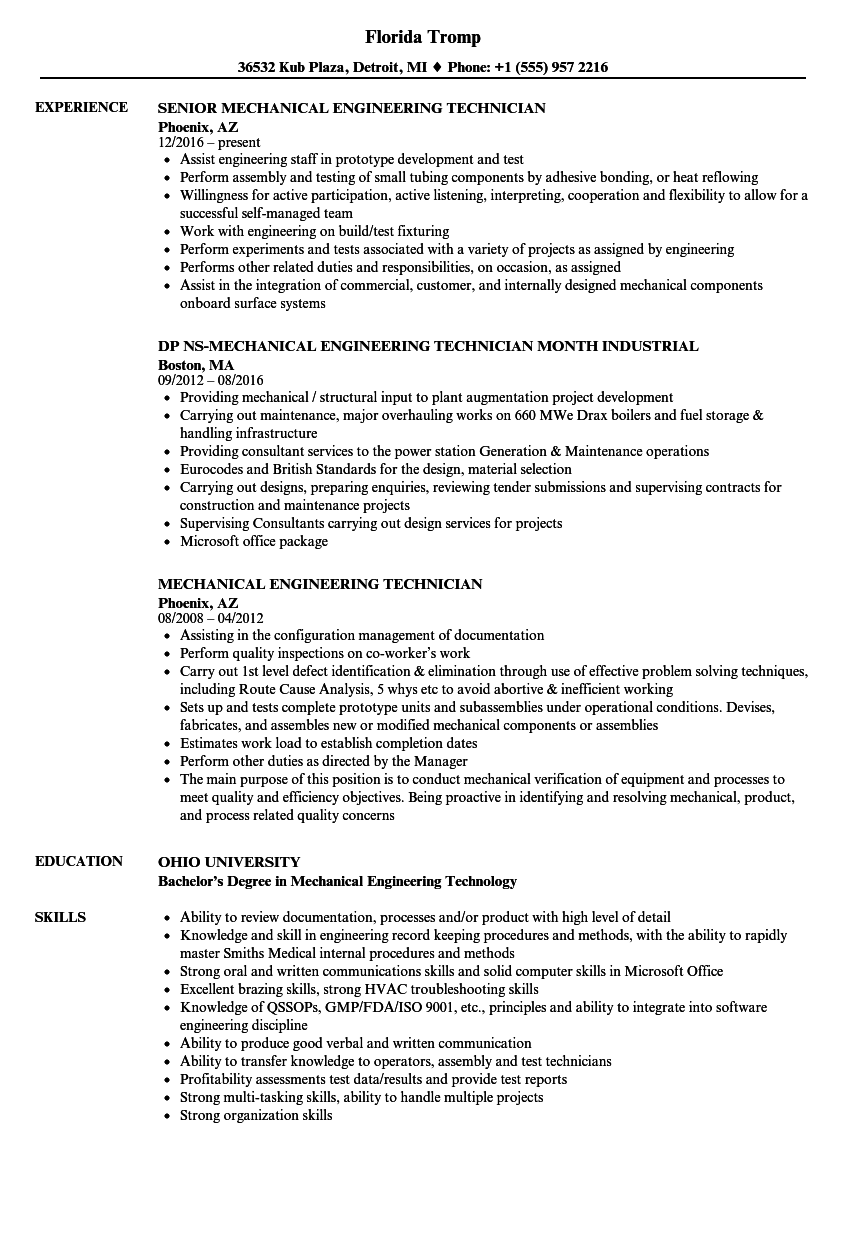 Mechanical Engineering Technician Resume Samples Velvet Jobs