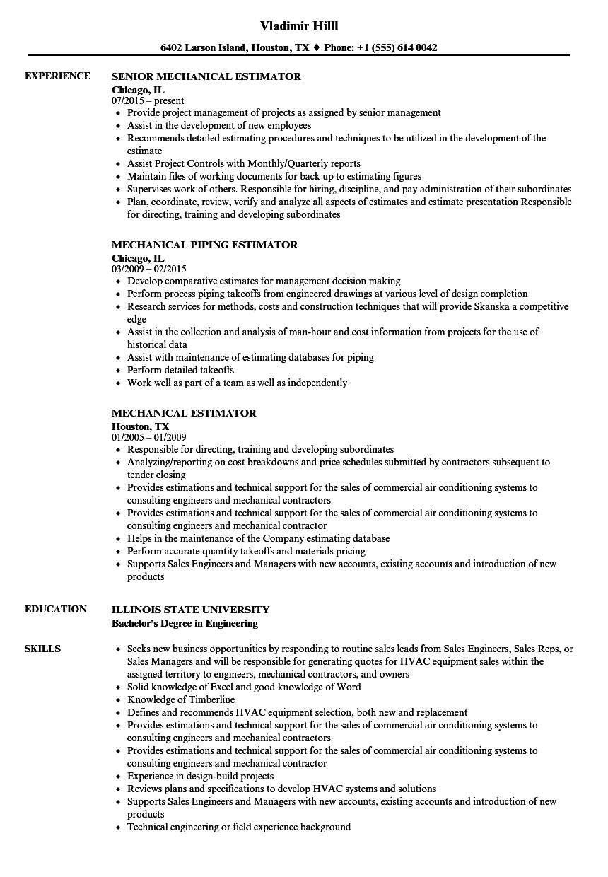 mechanical estimator resume samples