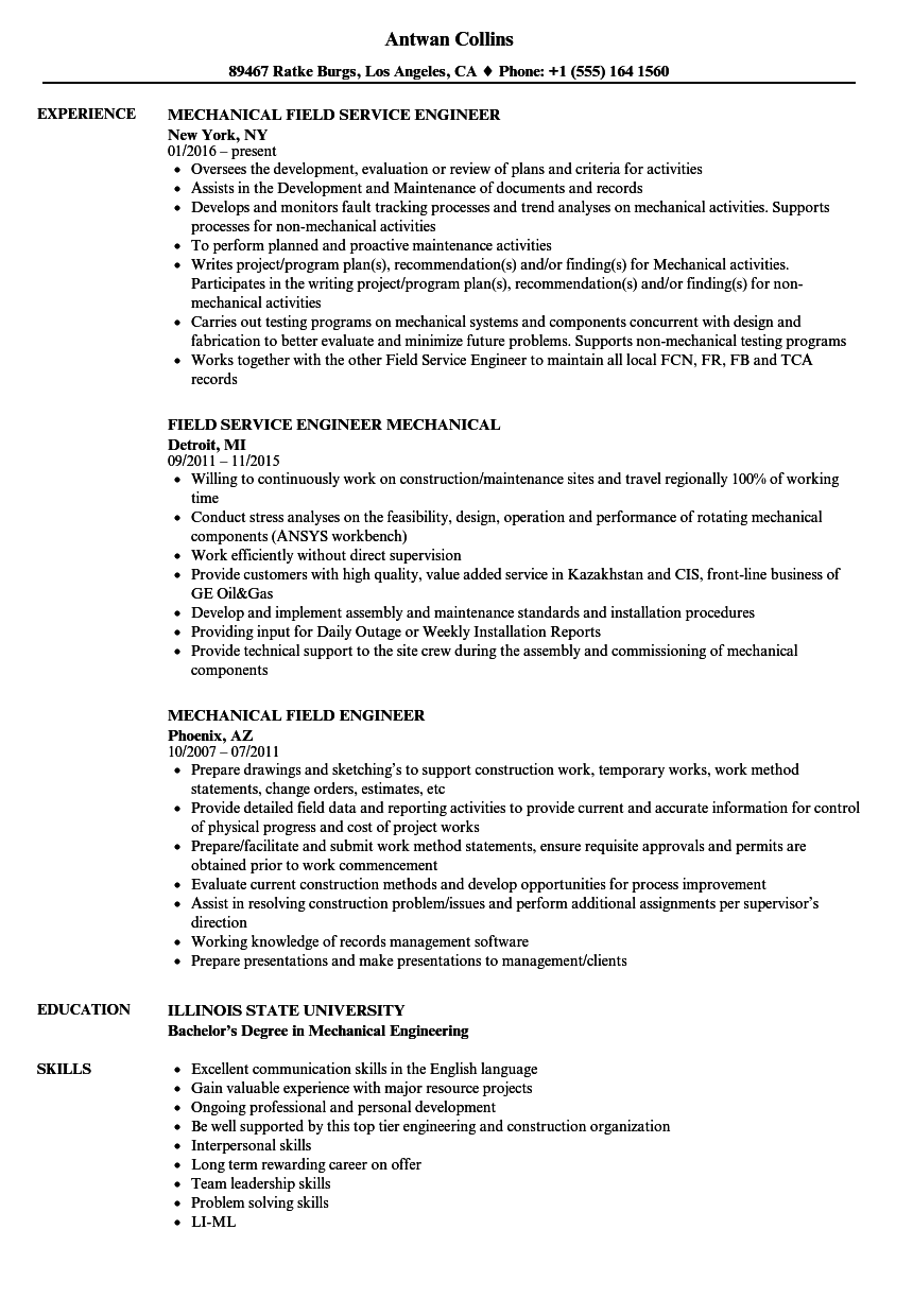 mechanical field engineer resume samples