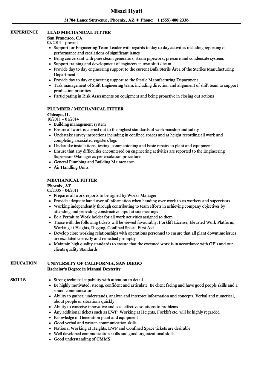 Mechanical Fitter Resume Samples Velvet Jobs