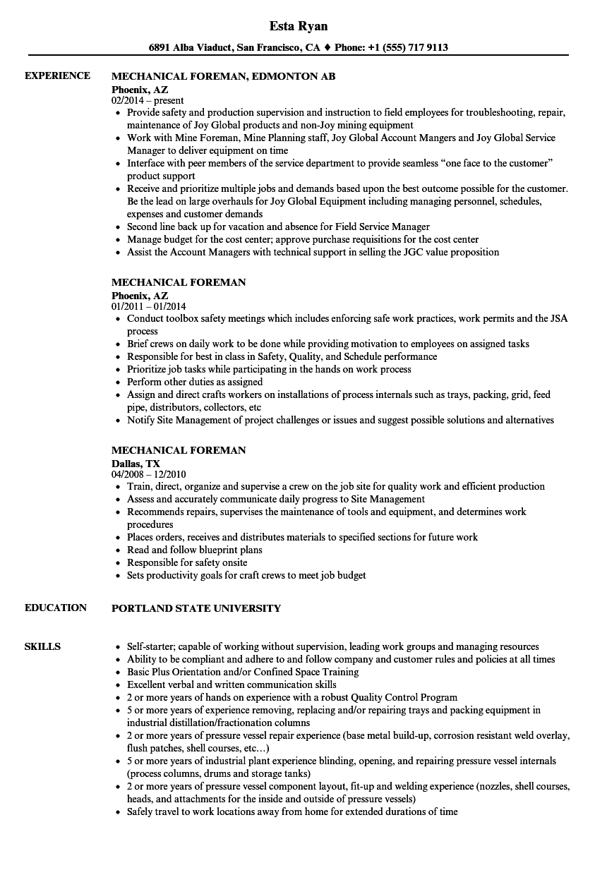 mechanical foreman resume samples