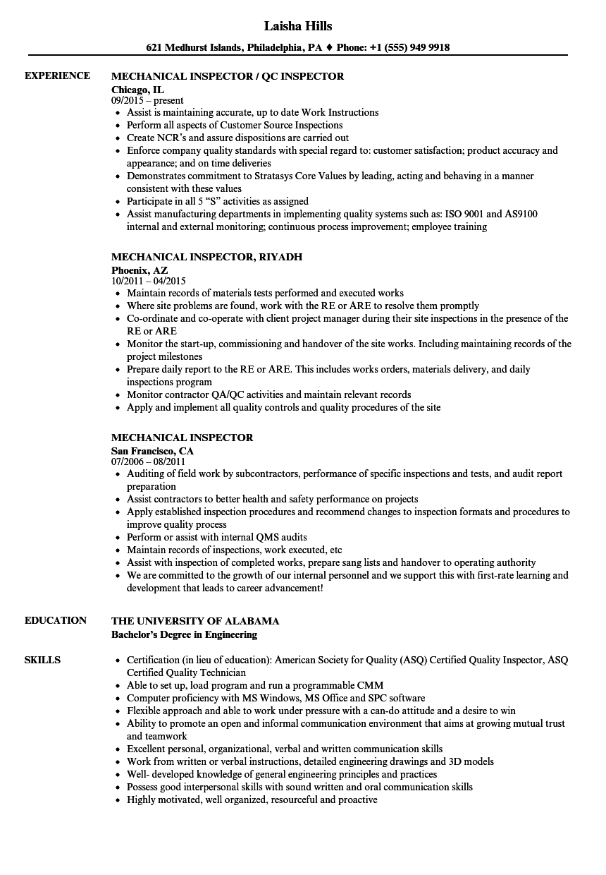 Mechanical Inspector Resume Samples | Velvet Jobs