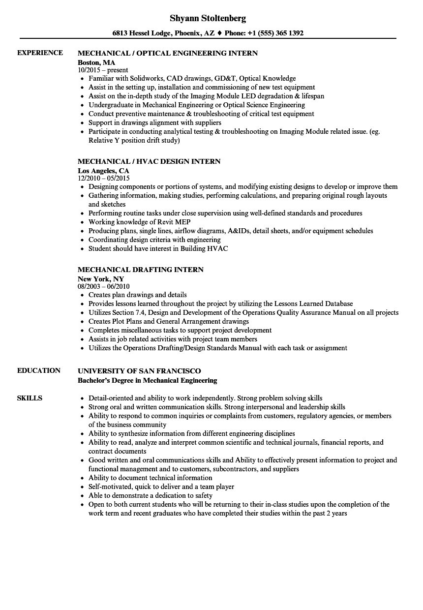 Resume For Internship In Mechanical Engineering
