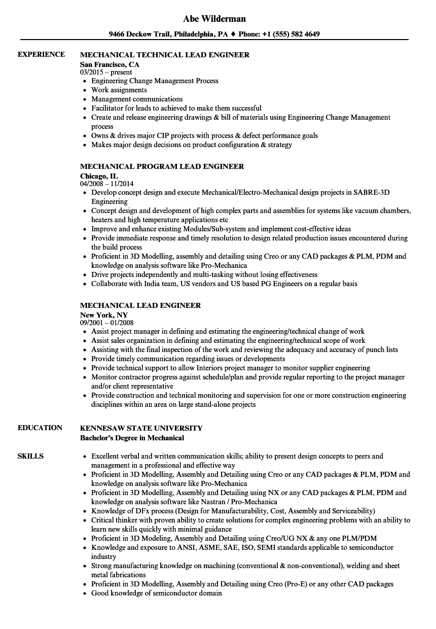 mechanical lead engineer resume samples