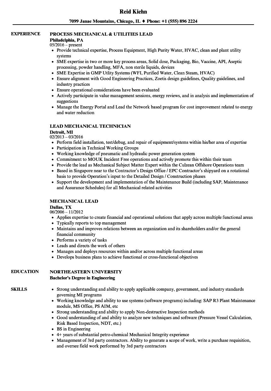 Mechanical Lead Resume Samples | Velvet Jobs