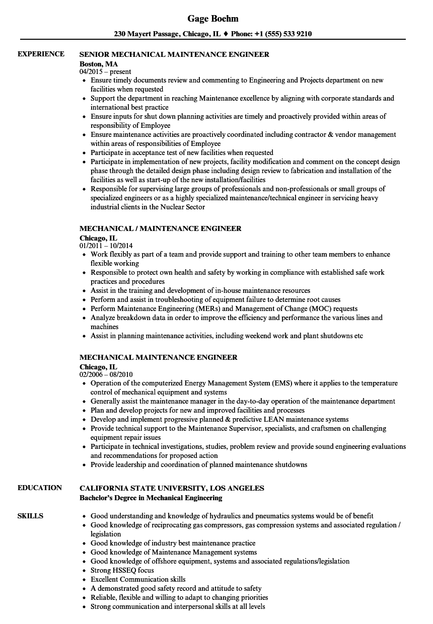 Mechanical Maintenance Engineer Resume Samples | Velvet Jobs