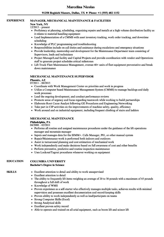 mechanical maintenance resume samples