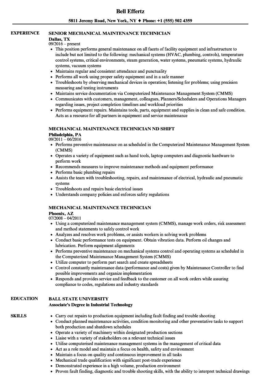 mechanical maintenance technician resume samples