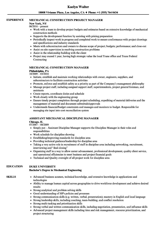 Mechanical Manager Resume Samples | Velvet Jobs